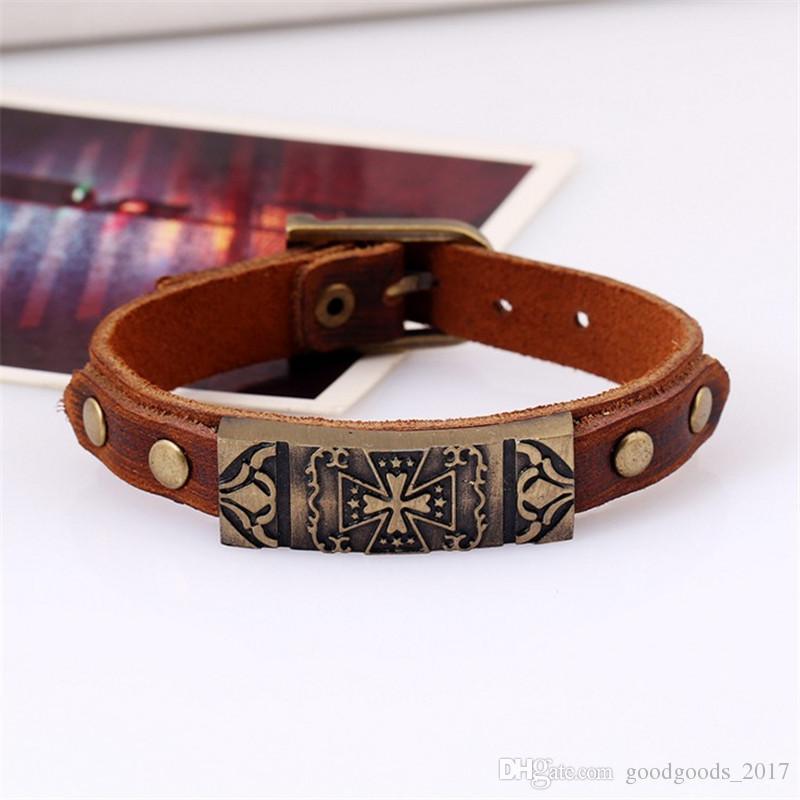 2017NEW 12 Style Ancre Ancre Rétro En Cuir Bracelet Ornements Bracelet Cadeau Véritable Portes En Cuir Vieux Effets M0253