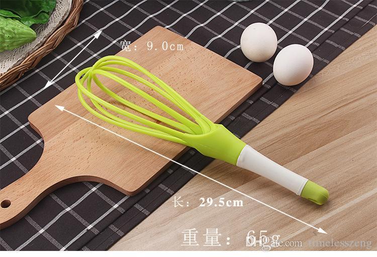 Nueva giratoria 2in1 girable Egg Beaters alimentos grado PP mango batidor Cook Tools Kitchen Egg Blender