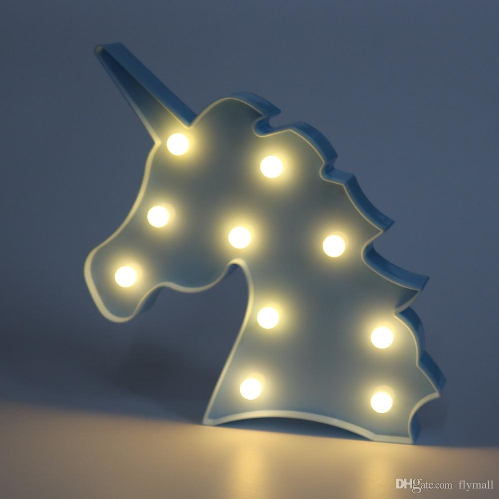Mignon Licorne Tête Led Veilleuse Animal Marquee Lampes Sur Le Mur Pour Enfants Partie Chambre Décor De Noël Enfants Cadeaux