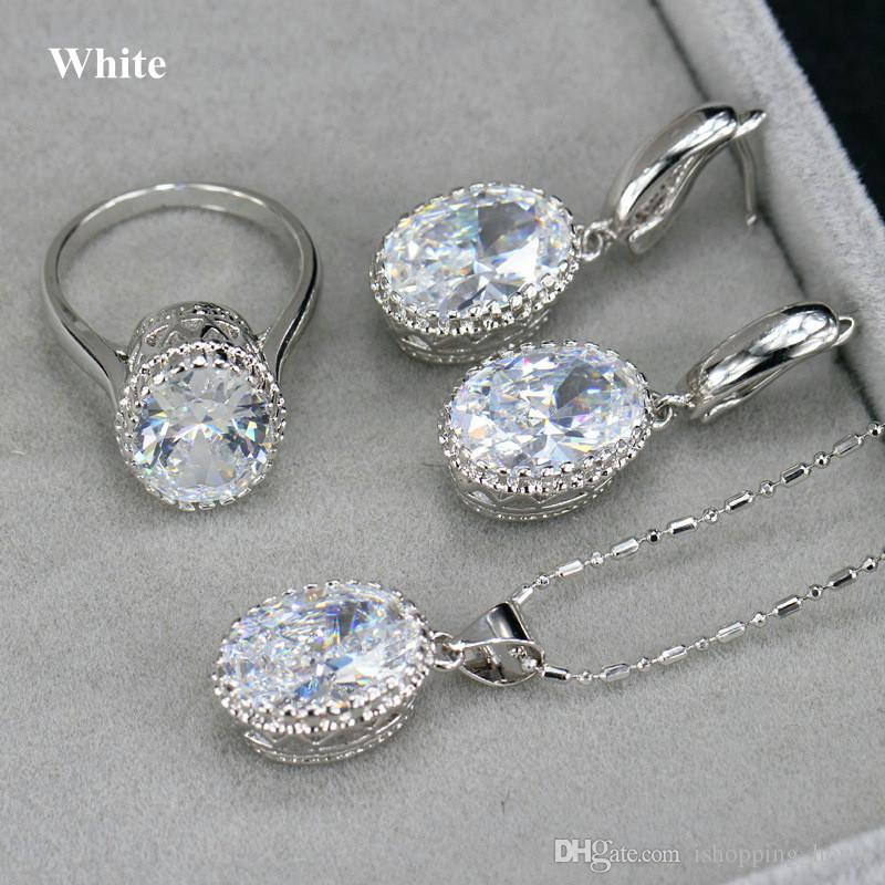 New Unique Design Necklace Set Platinum 18K White Gold Plated Big CZ Crystal Ring Necklace Earrings Women Jewelry Set for Bride for Wedding