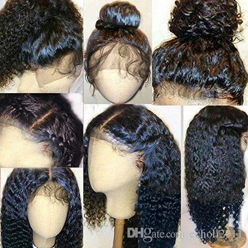Pre Plucked 360 Lace Frontal With Wig Cap Brazilian water wave Frontal Natural Hairline 360 Lace Virgin Hair 12inch, kinky curly