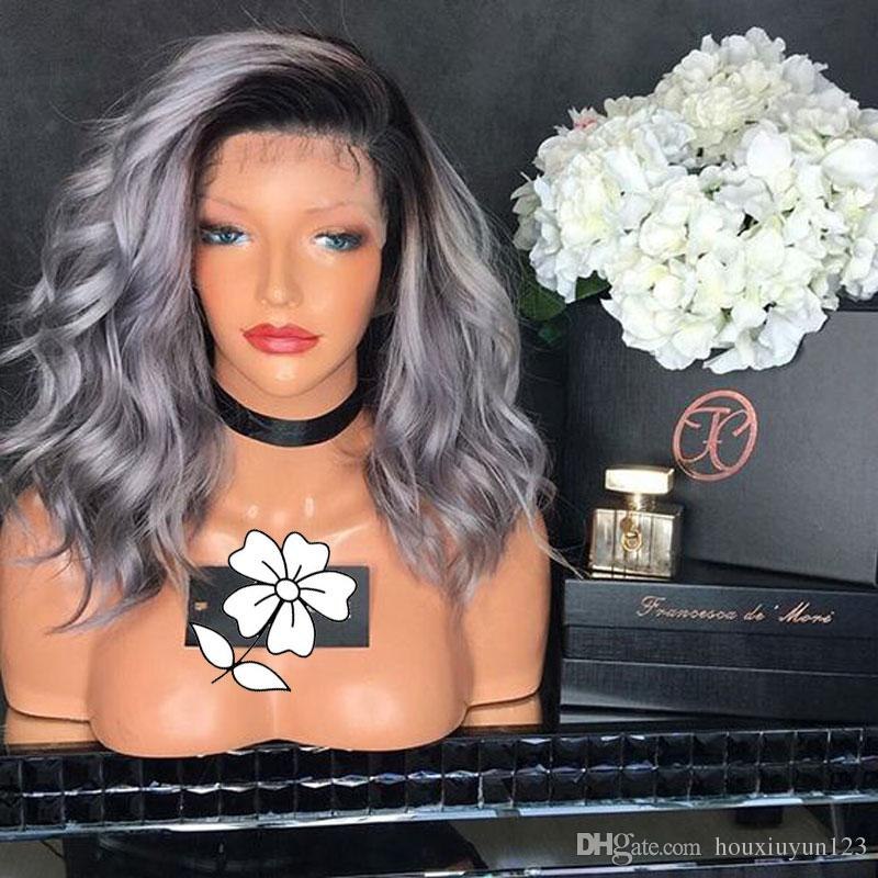 Hot Ombre Silver Grey Short Body Wave Bob Synthetic Lace Front Wig Heat Resistant Black/Silver Grey Ombre Bob Hair Wig For Women
