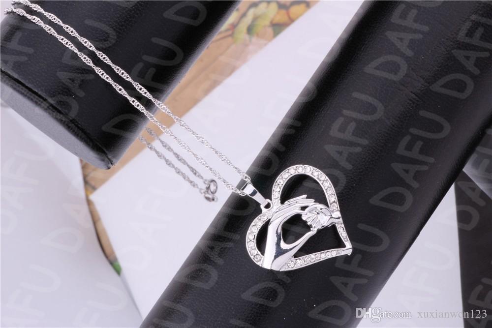 De calidad superior Simple madre y bebé collar de cristal oro blanco plateado joyería de moda regalo del día de la madre colgante de cristal