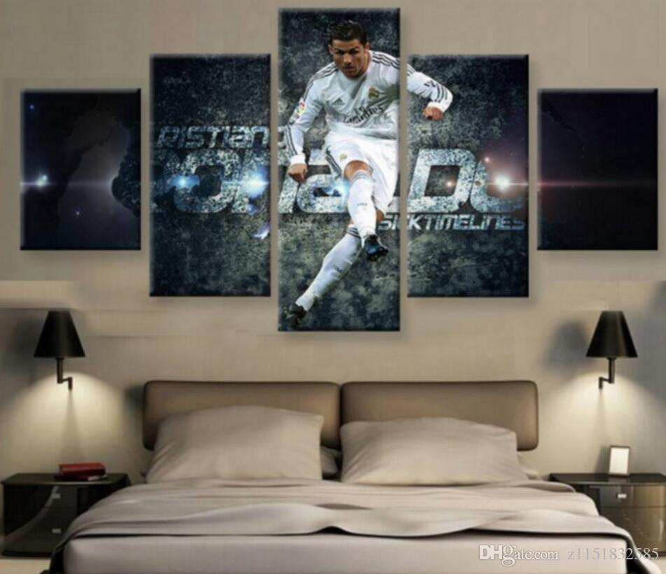 5 panel canvas print real Madrid's cristiano ronaldo painting life photo wall art high definition printing decoration modern art