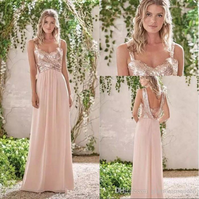 7b2fc550bb4 2017 New Rose Gold Bridesmaid Dresses A Line Spaghetti Straps Backless  Wedding Party Dress Sequins Beach Chiffon Maid Of Honor Gowns Little Girls  Dresses ...