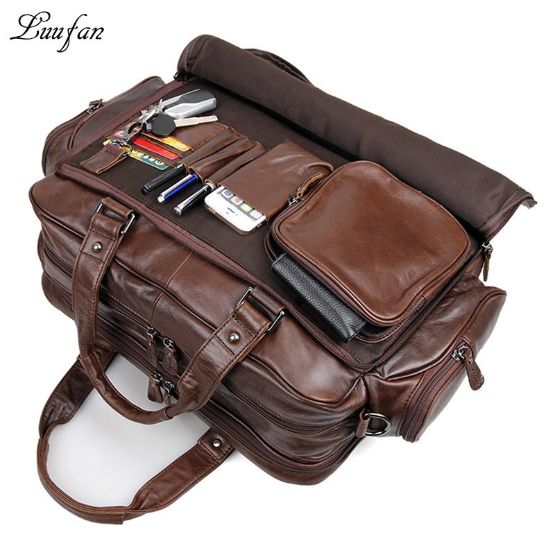 Wholesale- Men s Genuine Leather Briefcase 16 Big Real Leather ... 3ad1d31158