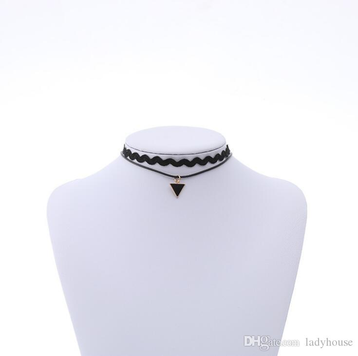 Retro Gothic Hippy Velvet Stretch Neckband Tattoo Choker Necklace Elastic Punk Grunge Pendants Necklaces Jewelry for Women Wholesale
