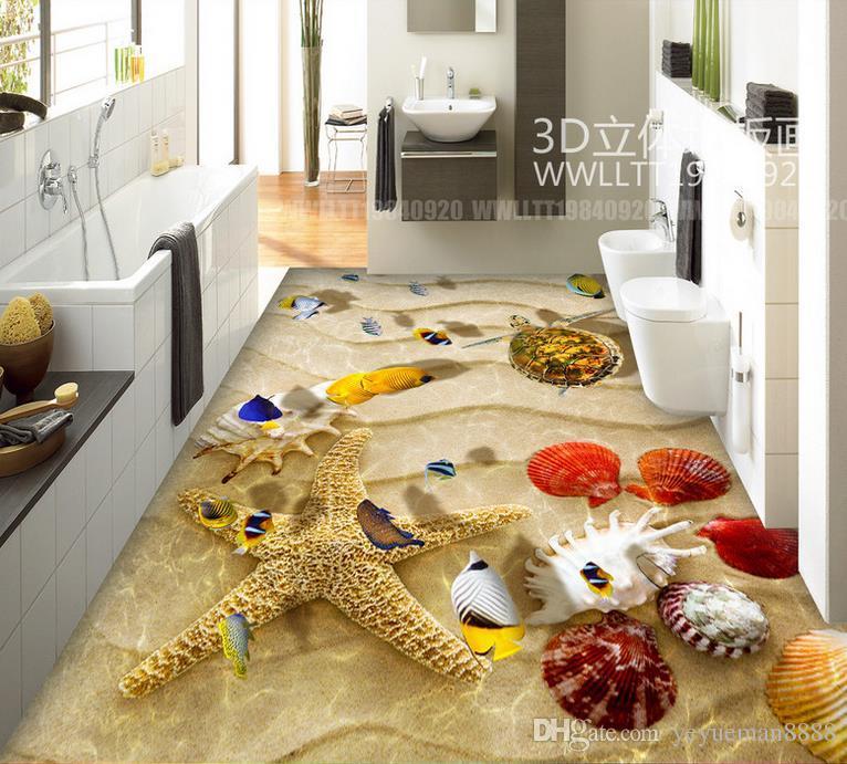 3D 바닥 타일 거실에 대한 사용자 정의 배경 화면 추상 3d 바닥 예술 자체 접착 벽지 타일 바닥 욕실 화장실 luxus