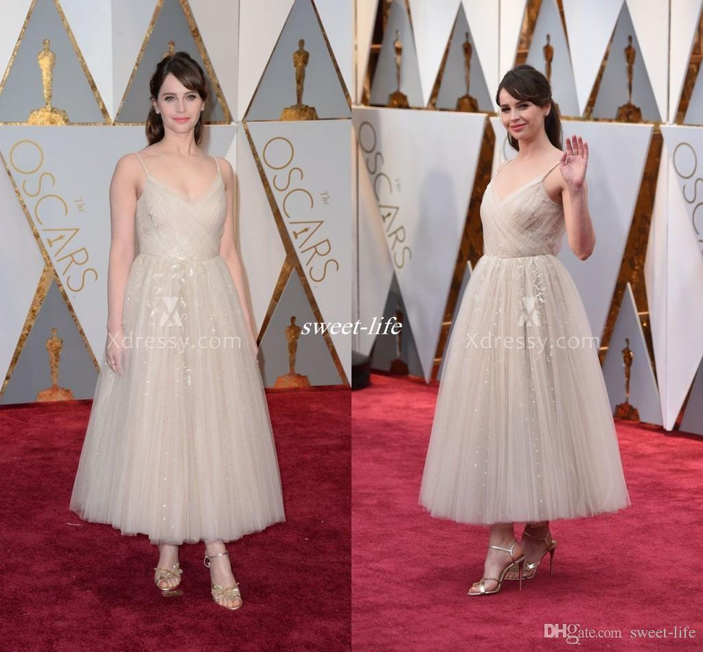 04b7fcab0d8 2017 Oscar Award Prom Dresses Long Felicity Jones In Sequined Evening Gowns  A Line Ankle Length Tulle Appliques Celebrity Dress Sparkly Gosh Celebrity  ...