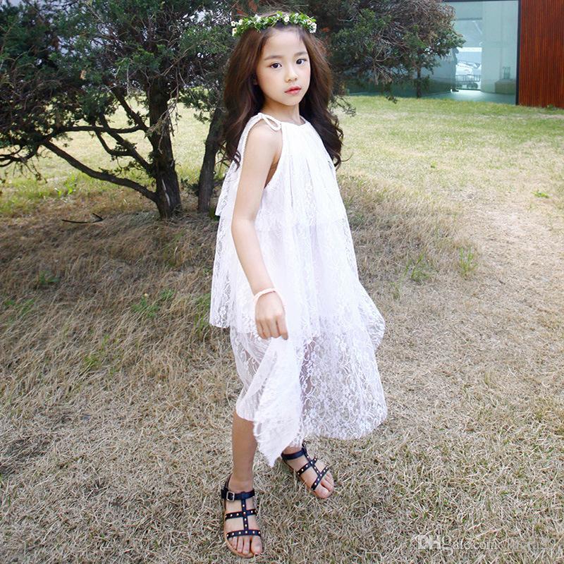 Han-Ausgabe Mädchen weißen Gaze Rock mit Schultergurten Sommer tragen neue Druck Strandkleid cuhk süßes Kind lose Kleid