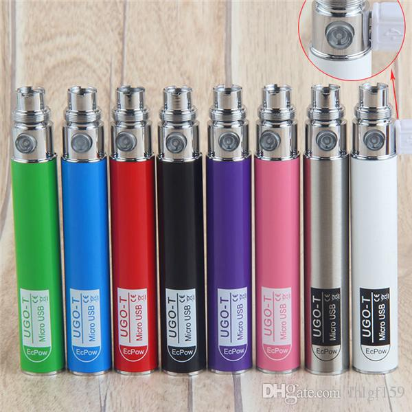UGO-T Mirco USB Passthrough 650mah Battery ecigs UGO t ego Batteries E Cigarettes fit eGo evod CE4 MT3 Vaporizer High Quality