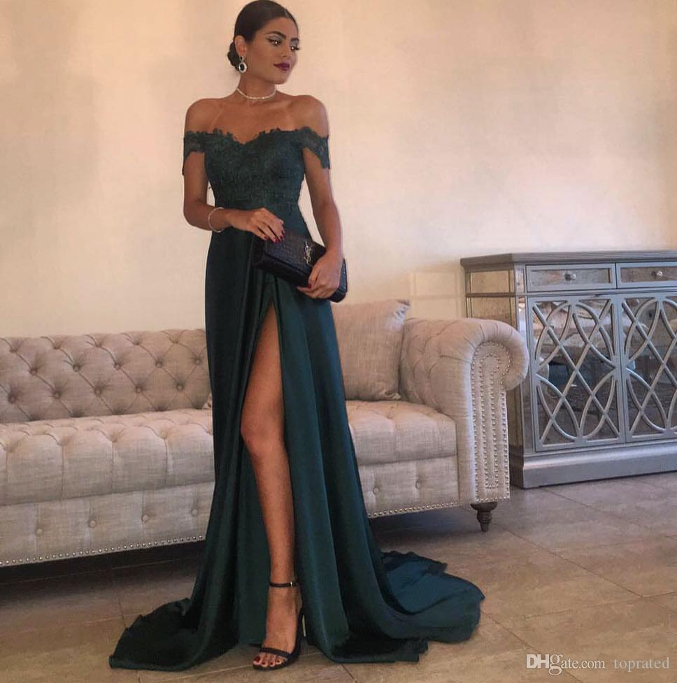 03450dc93c8e 2019 Evening Gowns A Line Hunter Green Chiffon High Split Cutout Side Slit  Lace Top Sexy Off Shoulder Hot Formal Party Dress Prom Dresses Cheap Pretty  Prom ...