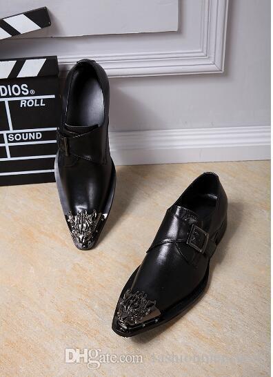 유럽과 미국의 패션 성격 남성 가죽 신발 철 머리 남성 헤어 스타일러 버클 조류 조수
