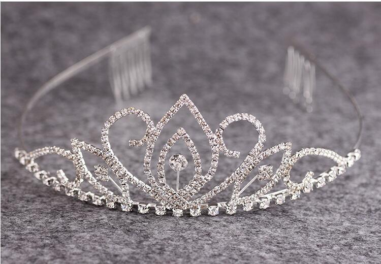 Luxo Cristal Rhinestone Nupcial Do Casamento Tiaras e Coroas Acessórios Para o Cabelo Enfeites de prata banhado de alta qualidade