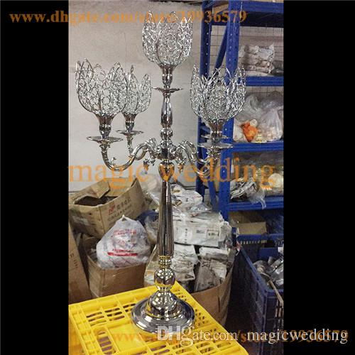 3 feet tall crystal Lotus Flower 5 arm sliver Plated candelabra wedding table Decor centerpiece
