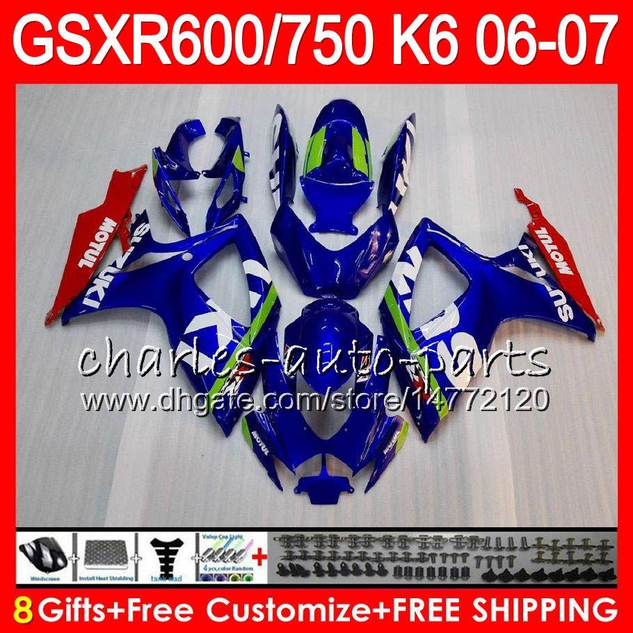 8GIFTS ES CUERPO PARA SUZUKI GSX-R750 GSXR600 GSXR750 06 07 10HM8 GSX R600 R750 K6 GSX-R600 GSXR 600 750 2006 Fairing Blue Blanco