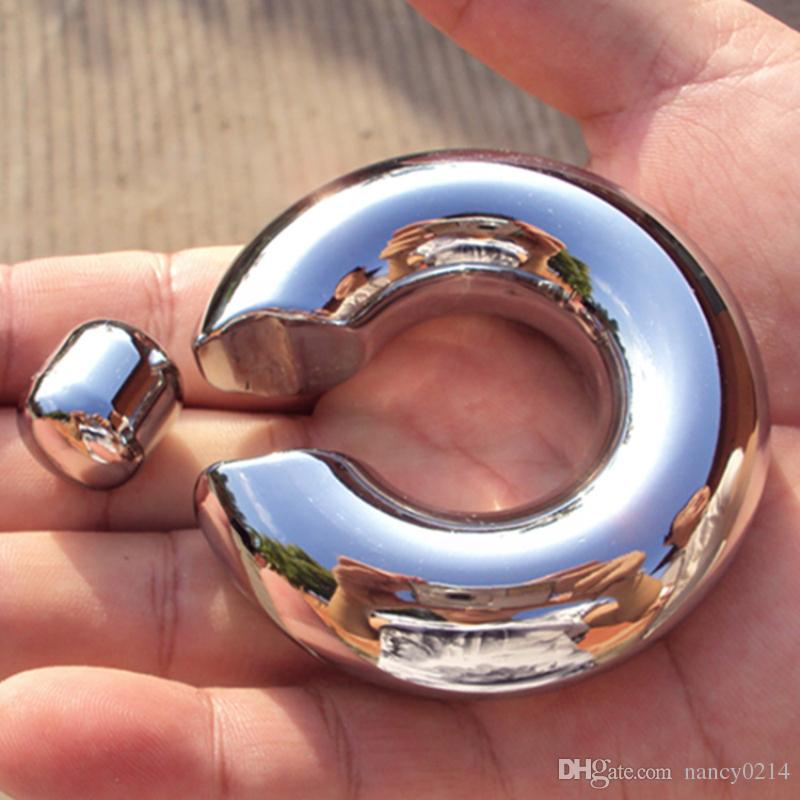 Scrotum Pendant Stainless Steel Penis Restraint Locking Ring Chastity Cockring Sex Toy 9 Size for Choice Sex Toys for Men B2-2-60