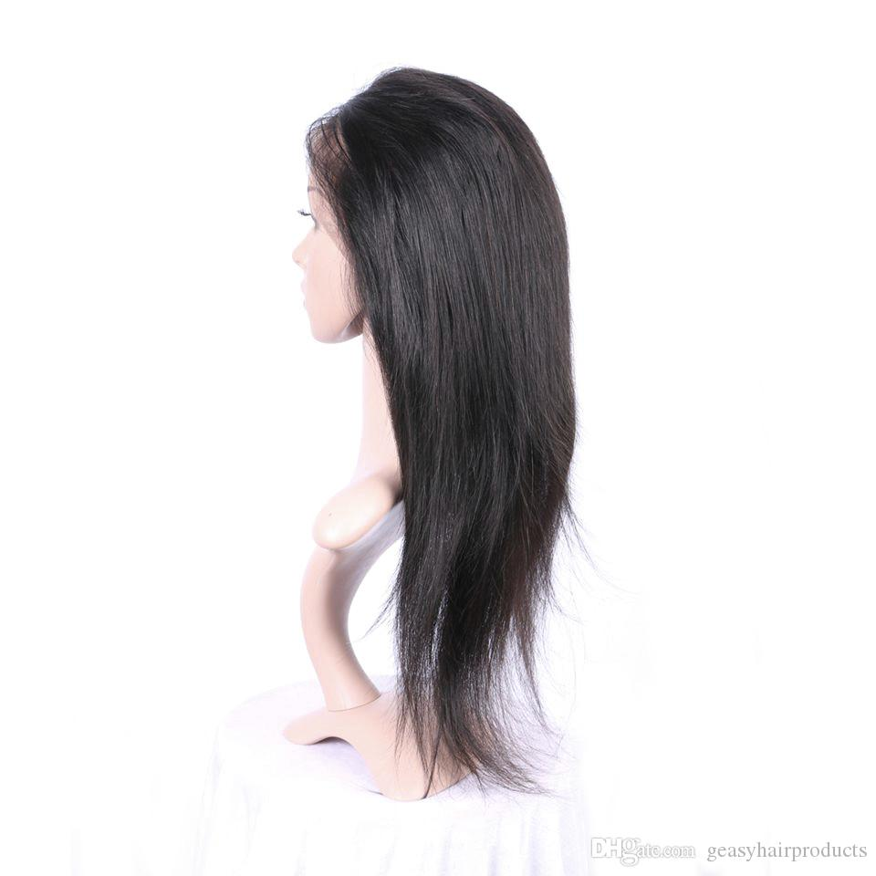 Human Hair Lace Wigs With Baby Hair Glueless Full Lace Front Wigs Peruvian Virgin Hair Straight Wigs G-EASY