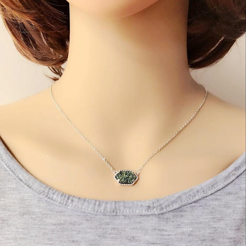 Necklaces for Women Geometric Druzy Choker Pendant Necklaces Silver-Plated Valentine's Day Gift Bulk Price Fashion jewelry