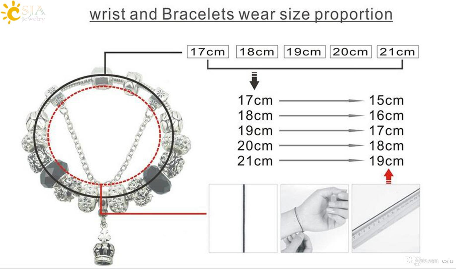 CSJA Flower of Life Pendant Retro Silver Beads Bracelet Women Hand Jewelry Real DIY Handmade Hollow Charms Bracelet Safety Chain Design E201
