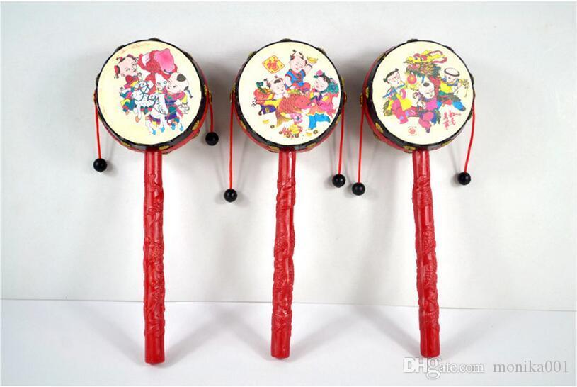 19 * 6.5cm Il sonaglio a forma di tamburo Classic tradizionale Baby Toys Rattle-drum Festive Party Supplies