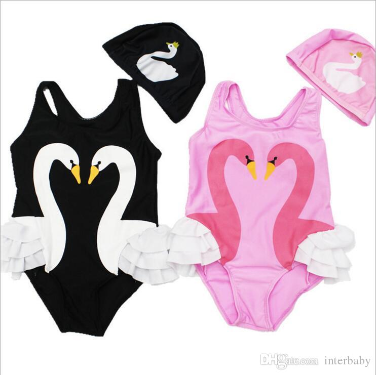 7d116fefea35 2019 Girls Swimwear Baby Swan Flamingo Swimsuits Kids Parrot Print ...
