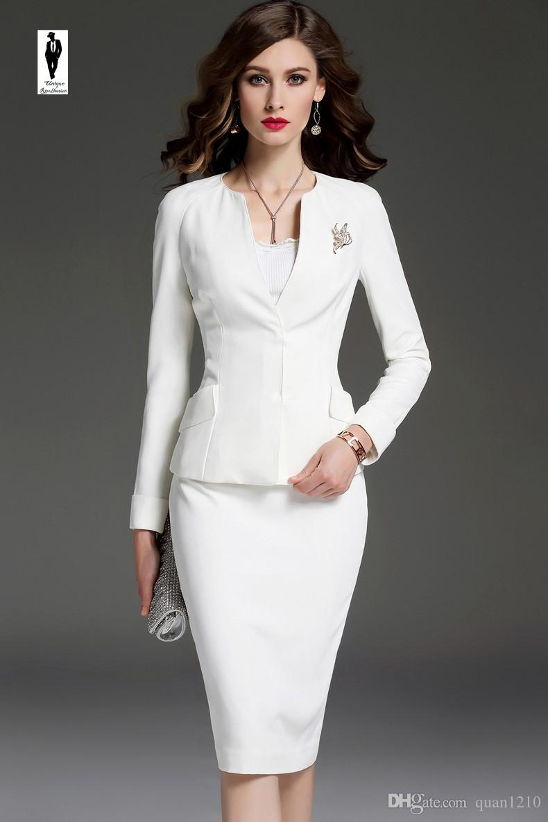 2019 Ur White Autumn Plus Size Office Lady Suit Female