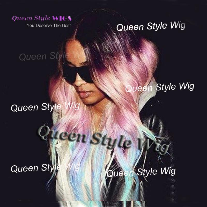 Pastel Purple Pink to Ice Blue Rainbow Color Wig Synthetic Celebrity Ciara Loose Wave Hair None Lace Wig/ Lace Front Wigs for Black Lady