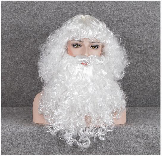 Xiu Zhi Mei Top Quality Ricci Natale Babbo Natale Bianco Lungo crespi Cosplay Capelli sintetici Parrucche A buon mercato Vecchio Uomo Cosplay maschile con barba