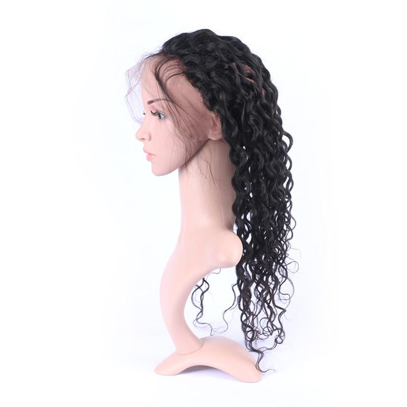 Peruvian Deep Curly Human Hair 360 Lace Frontal with Weaves Unprocessed Virgin Hair 3Bundles with Full Frontal 360 Lace Closure