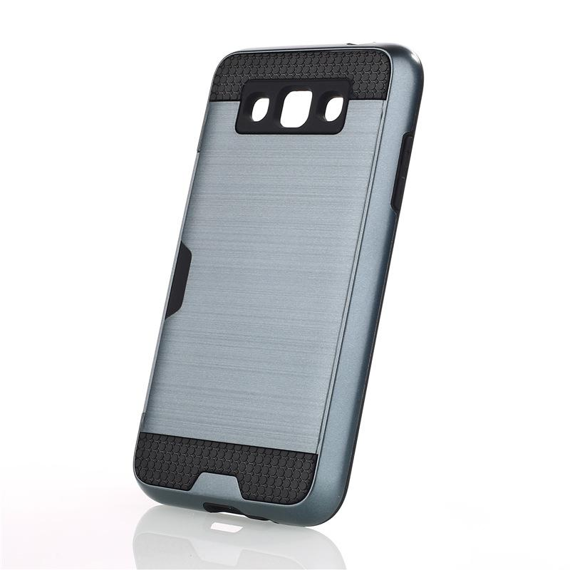 Zırh TPU + PC Hibrid Fırçalanmış Kredi Kartı Yuvası durumda Samsung Galaxy Z3 NOT 3 GRANG PRIME G530 NOT 8 100 adet / lo