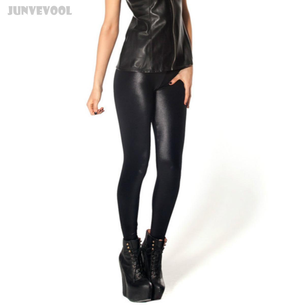 4b48d310e8f86 2019 Wholesale Imitation Leather Leggings Joggings Women Black Fitness Pants  Sexy Women Mid Waist Wet Look Shinny Slim Trousers Plus Size Lady From ...