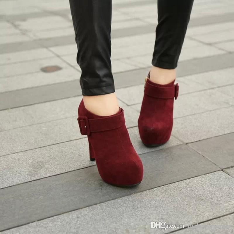 4995efbe5e1 Wholesaler Factory Price High Heel Round Nose Platform Frosted Flock Napped  Leather Buckle Women Short Boot White Boots Black Boots For Women From ...