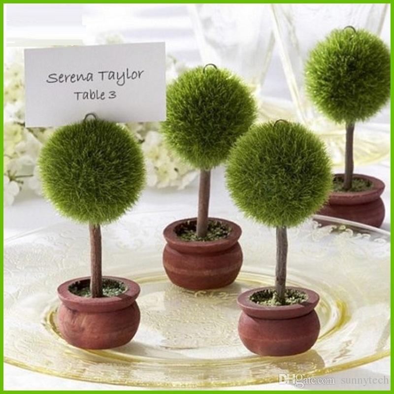 화분에 심은 식물 사랑의 심장 나무 장소 카드 / 사진 홀더 아기 샤워 선물 웨딩 부탁 파티 선물 테이블 카드 홀더 S2017371
