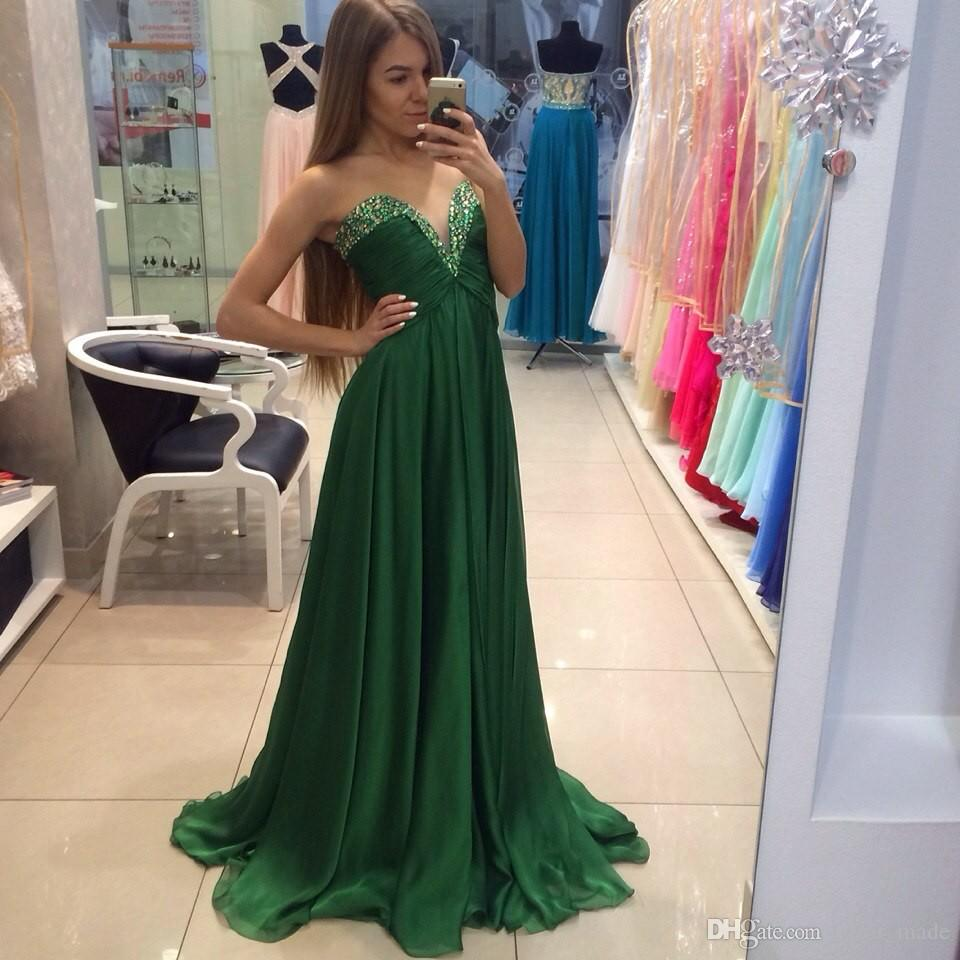 Charming Green Long Evening Dresses With Hand Beading And Pleat Chiffon A-Line Prom Gowns 2019 vestidos de Noiva baile
