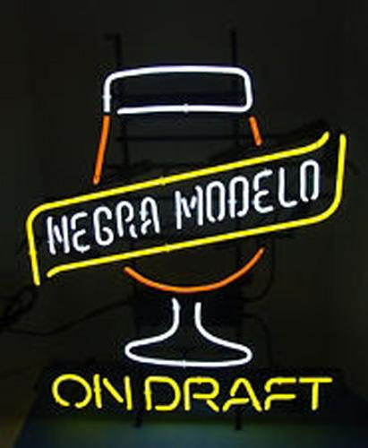 Cerveza Negra Modelo On Draft Neon Sign Handmade Custom Real Glass Store  Beer Bar KTV Club Party Advertising Display Neon Signs 19 X15