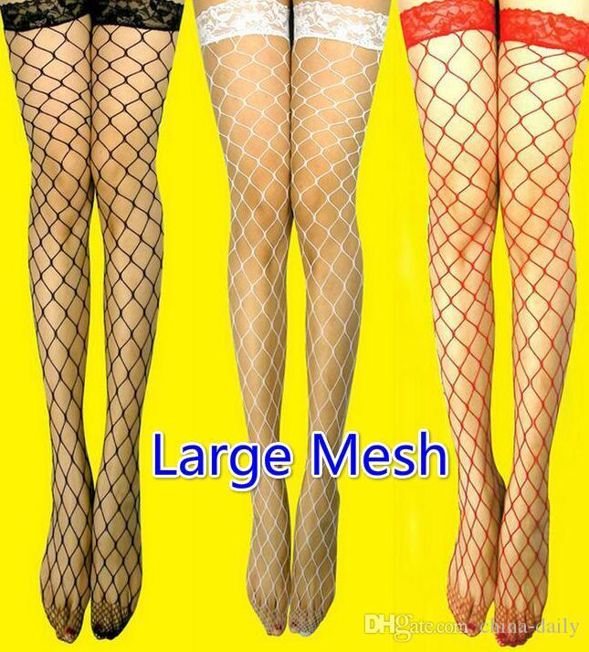 Navire gratuit es maille moyenne petite maille sexy Womens Sheer Lace Top bande de silicone reste jusqu'à la cuisse haute bas collants lingerie