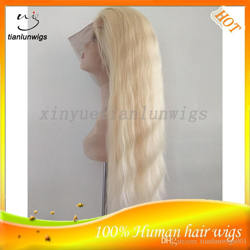 Hot Sale 22 inch #613 Blonde Color 100% Human Virgin Hair Straight Full Lace Wig Free Part Full Face Wigs With Baby Hair