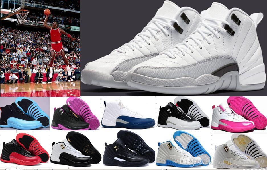 brand new ce5bd 8de33 Top Quality 12 12s Men Womens Basketball Shoes white TAXI Flu Game GS  Barons Playoffs gym red French blue Trainers Athletics Shoes