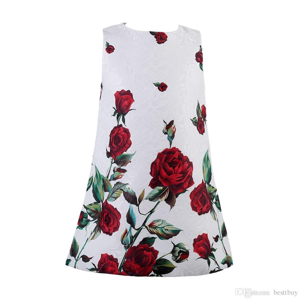 da29810415ab 2018 Robe Fille Baby Girl Dress Rose Floral Pattern A Line Princess ...