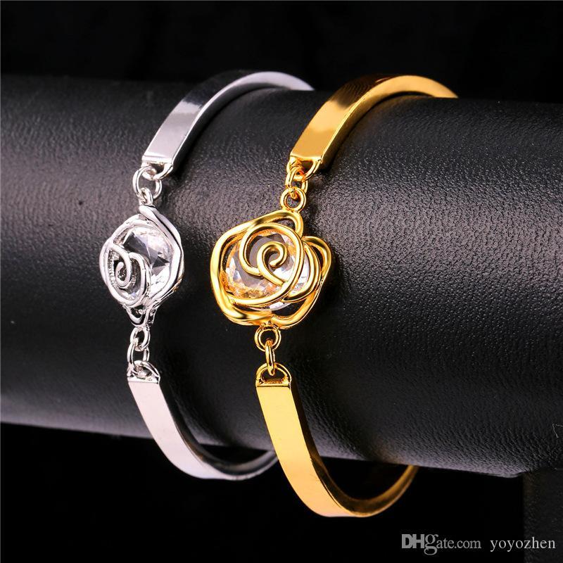 Eleganta Rose Pendants Halsband Charm Armband Drop Earrings 18K Real Gold Plated Cubic Zirconia Party Smycken