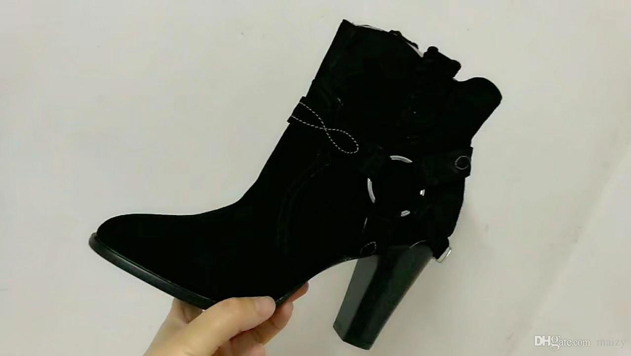 2017 fashion 100% Real Photo Genuine Leather Buckle Strappy Thick Chunky High Heels Women Ankle Boots pointed toe Botas Mujer