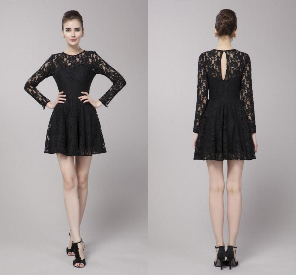 Lace Short Black Dresses Long Sleeve Zipper Elegant Evening Dresses ...