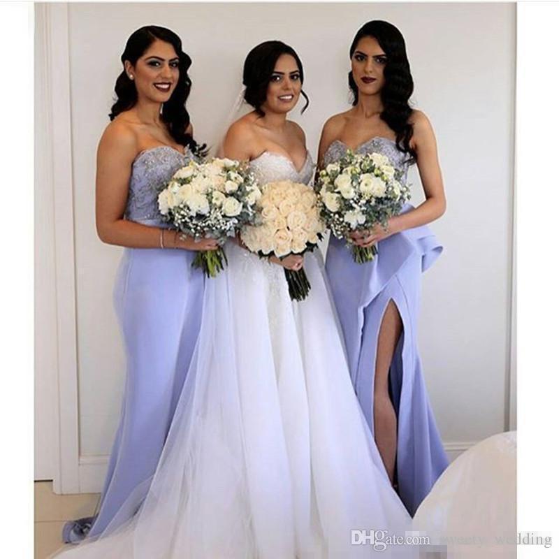 우아한 라일락 신부 들러리 드레스 아가 프런트 분할 프릴 기차 결혼식 결혼식 게스트 파티 가운 페르시 2017와 함께 Vestidos 드 Novia