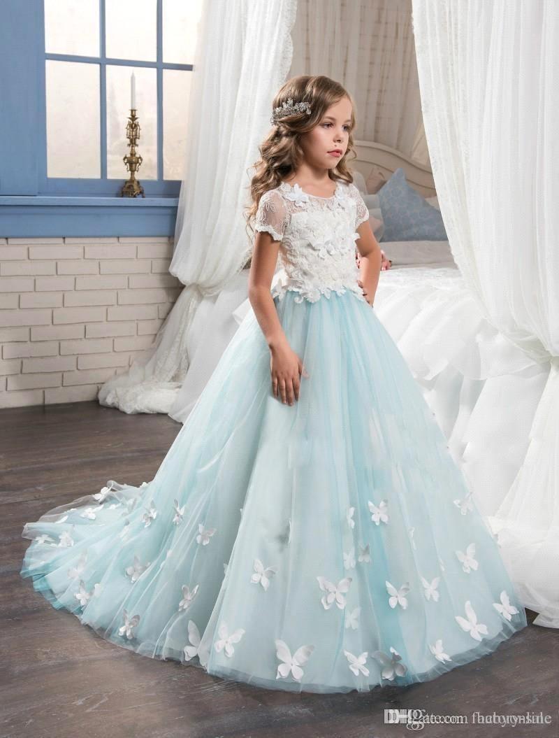 2017 Neue Minze Blumenmädchen Kleider mit kurzen Ärmeln Voller Schmetterlingsmädchen Kindergeburtstag Prom trägt Kleinkind Festzug Kleider BA4452