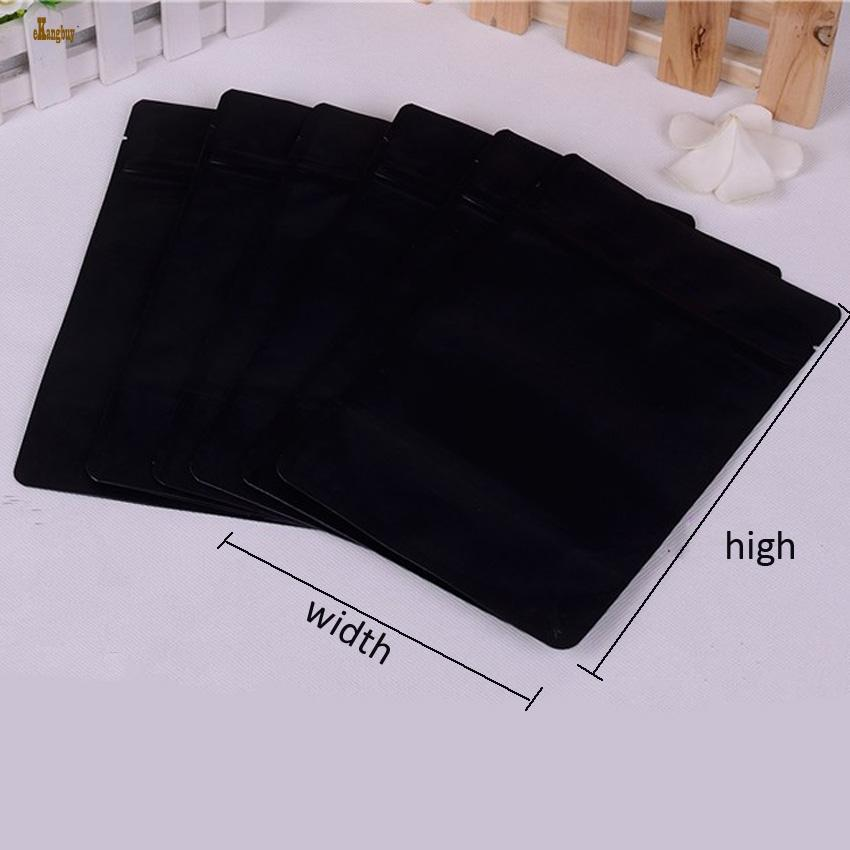 2018 New Sale 50pcs/lot 13cm/15cm/18cm 3sizes Matt Finish Black Aluminum Foil Zip Lock Bag Stand Up Gift Bags Food Packaging Retail Package