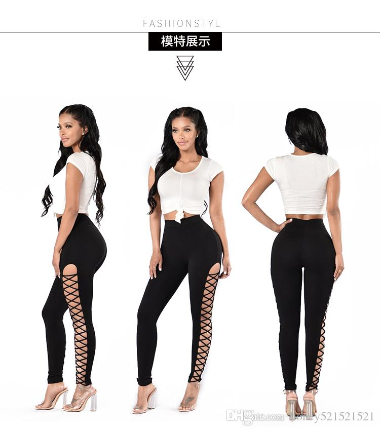 New design women's sexy bodyon high waist elastic waist 2 sides hollow out lacing bandage tunic leggings tights pants SMLXL