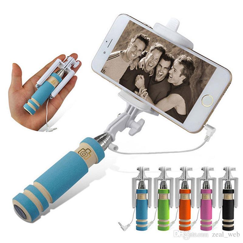 sf-express Mini monopod Selfie Stick Handheld Self Monopods Wired Foldable Tripod Monopod Extendable Self Stick Holder for smart phones
