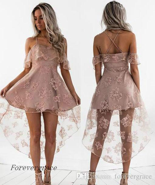 7acbdf37fc 2017 Cute Pale Pink Short Homecoming Dress Vintage High Low Lace Juniors  Sweet 15 Graduation Cocktail Party Dress Plus Size Custom Made Homecomeing  Dresses ...