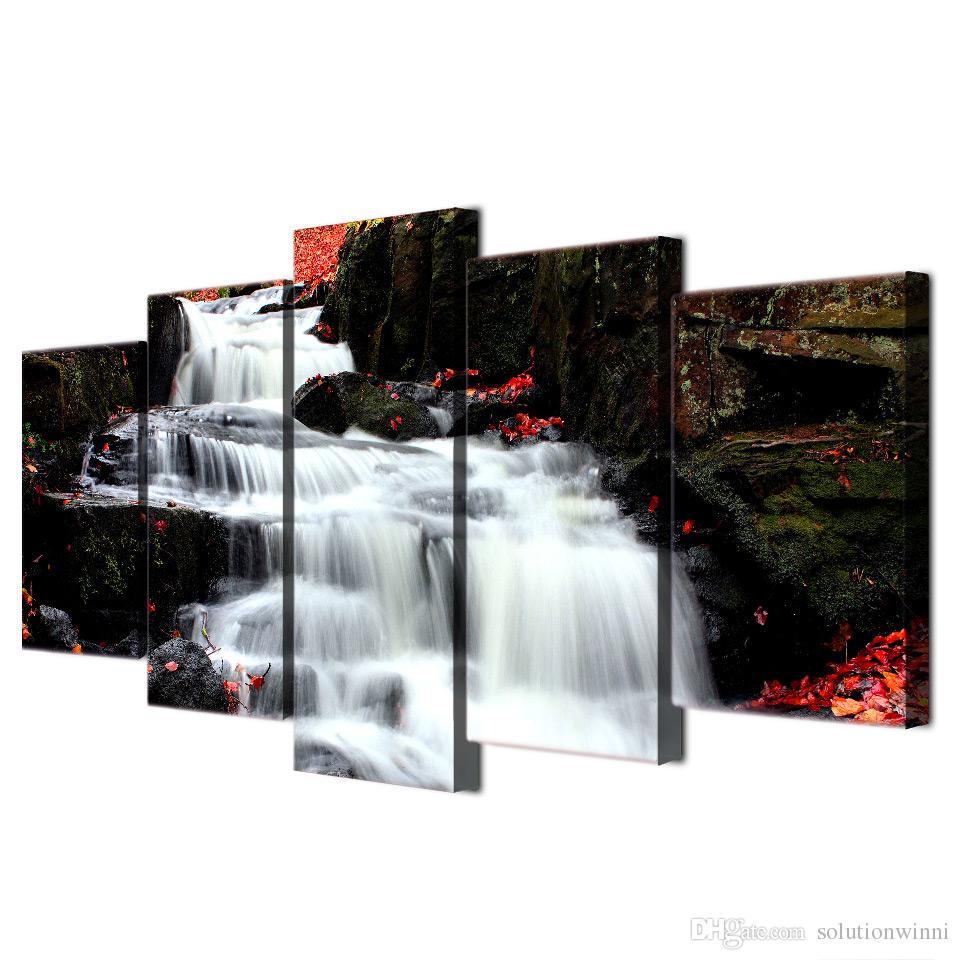 5 Unids / set Enmarcado HD Impreso Cascada Paisaje Imagen del Arte de la Pared Decoración para el Hogar Obras de Arte Abstracto Lienzo Pintura Al Óleo